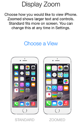 iPhone 6 Plus: zoom display enlarges icons