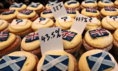 Referendum cupcake poll results at a bakery in Edinburgh