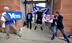 Voters at Scottish referendum polling station