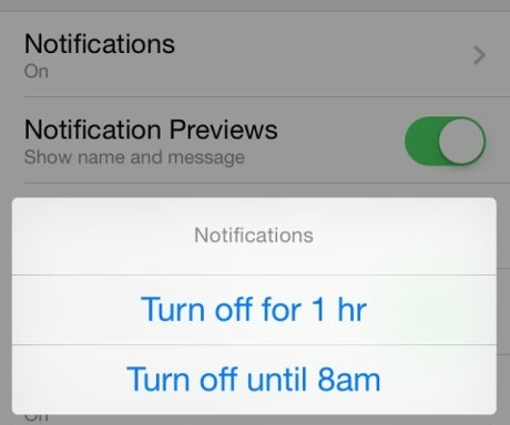 Mute notifications in Facebook messenger