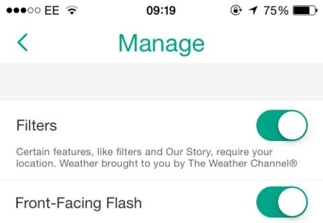 Front-facing flash in Snapchat
