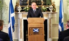 Scotland's first minister Alex Salmond announces his resignation