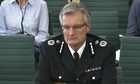 David Crompton, chief constable of South Yorkshire police, in front of home affairs select committee