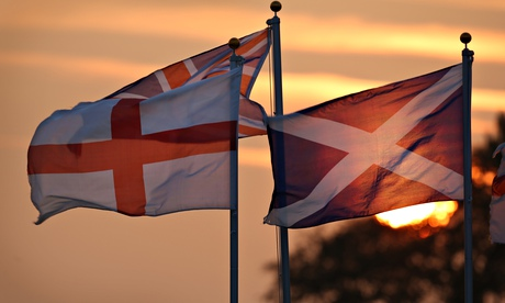 Scotland, England and United Kingdom flags flying over Gretna Green.