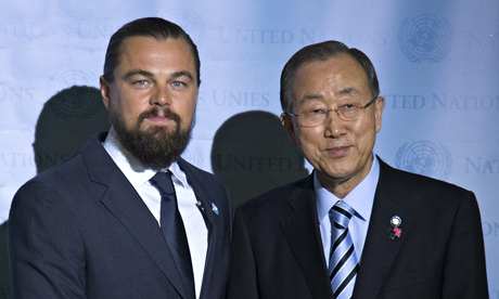 United Nations secretary general Ban Ki-moon with actor Leonardo DiCaprio during his designation ceremony as the UN Messenger of Peace. Photograph: EPA