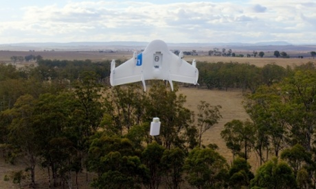 A Project Wing drone vehicle makes a delivery. Photograph: AP/Google