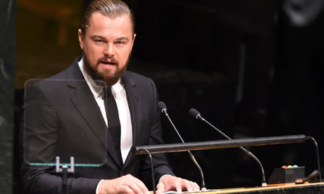 Leonardo DiCaprio speaks at the opening of the UN climate summit in New York on Tuesday.