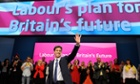 Labour party leader Ed Miliband after delivering his keynote speech during the Labour party annual conference in Manchester, September 2014.