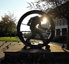 A sculpture in Port Talbot celebrates the town's metalworkers