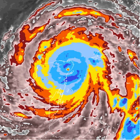 Cyclone Gilbert, September 14, 1988 top-of-cloud temperatures