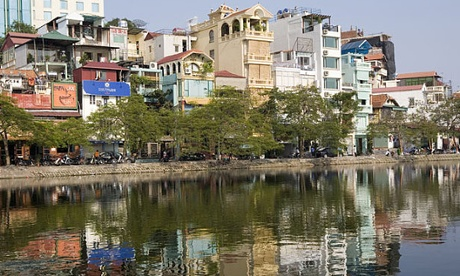 Residential area at the Ho Tay Lake in Hanoi.