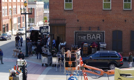 The Gone Girl film crew on location at 'The Bar' in Cape Girardeau, Missouri.