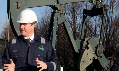 Prime minister David Cameron during a guided tour of the IGas shale drilling plant near Gainsborough, Lincolnshire.