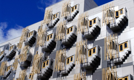 Exterior facade of the Scottish parliament building in Holyrood, Edinburgh.