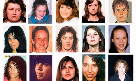 Twenty-six of the women accused Robert Pickton is accused of having murdered; Sarah de Vries is in the bottom left of the third row.