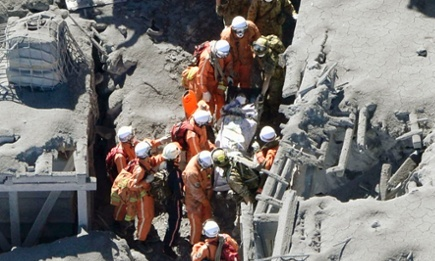 Japanese rescue workers carry an injured person from a mountain lodge on Mt Ontake. Photograph: Kyodo/Reuters