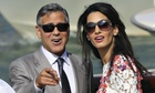 Newlywed George Clooney and Amal Alamuddin leaving the Aman Canal Grande in Venice after their surpr