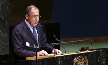 Russian minister for foreign affairs, Sergei Lavrov, speaks at the UN general assembly.