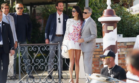 George Clooney and Amal Alamuddin at Hotel Cipriani.