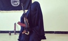 Zahra Halane, 16, poses with an AK-47, an Isis flag, knife and grenade. A series of tweets about her