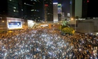 Protesters light up Hong Kong with their smartphones during sit-in