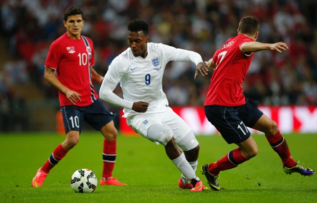 Daniel Sturridge turns his markers as England look to break open their visitors in the first half.