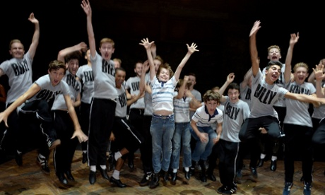 From stage to screen … past stars of Billy Elliot the Musical celebrate following the curtain call on Sunday.