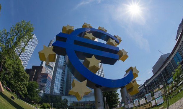 Euro symbol in front of European Central Bank Headquarters, in Willy Brandt Platz, Frankfurt, Germany, 03 July 2014.