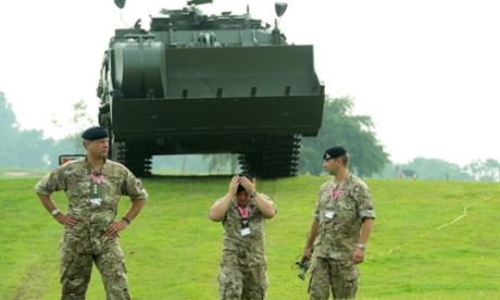 British Army personnel patrol the Celtic Manor Resort in Newport