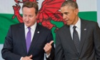 David Cameron with Barack Obama visiting a school in Newport before the opening of today's Nato summit.