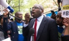 David Lammy speaking to protesters against the kidnapping of girls in Northern Nigeria by the terror group Boko Haram.