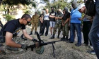 Volunteers attend a training session at the base of Ukrainian battalion Azov in Mariupol