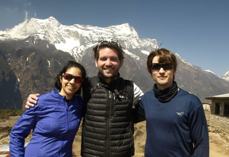 Alexei Vink, centre, with fellow trekkers