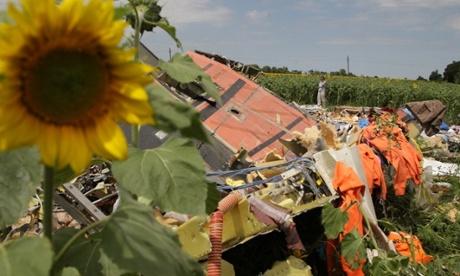 Debris at the crash site of MH17 in Ukraine's Donetsk region. Photograph: Xinhua/REX