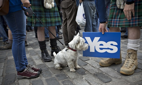Westminster has been galvanised into action after a poll giving the yes campaign the edge suggested Scotland may march into independence in September. Photograph: Colin Mcpherson/Corbis