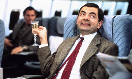 Mr Bean on a plane
