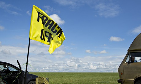Anti-fracking campaigners near Westby, Lancashire.