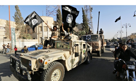 Isis jihadis using captured arms and troop carriers from US and Saudis