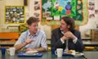 Nick Clegg and food writer Jay Rayner at Walnut Tree Walk primary school in Lambeth.