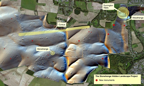 The location of newly discovered monuments around Stonehenge.  Image Courtesy of Geert Verhoeven, University of Bi/PA and The Guardian.com.