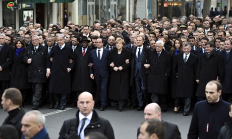 Heads of state take part in the march.