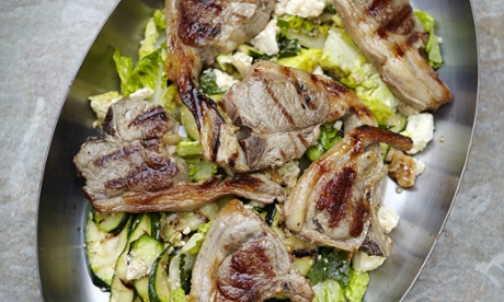 lamb chops and courgettes.