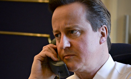 David Cameron talking on the telephone to US president, Barack Obama