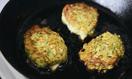 Zucchini and dill fritters.