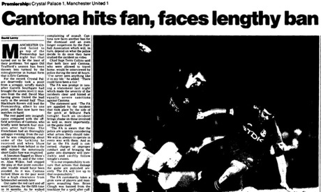 Eric Cantona's kung fu-kick at 20: Guardian reports from the archive