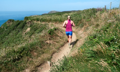 Runner on the Pembrokeshire Coast Path in Wales
