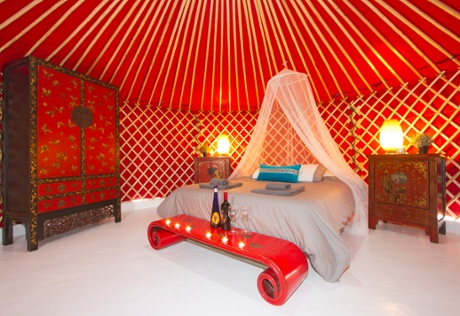 Yurt interior, Lanzarote Retreats