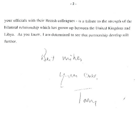 Tony Blair's letter to Muammar Gaddafi in April 2007.