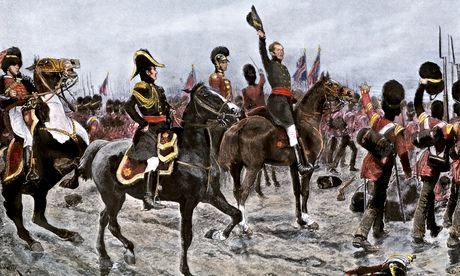 An illustration of the Duke of Wellington ordering the entire British line to advance at the Battle