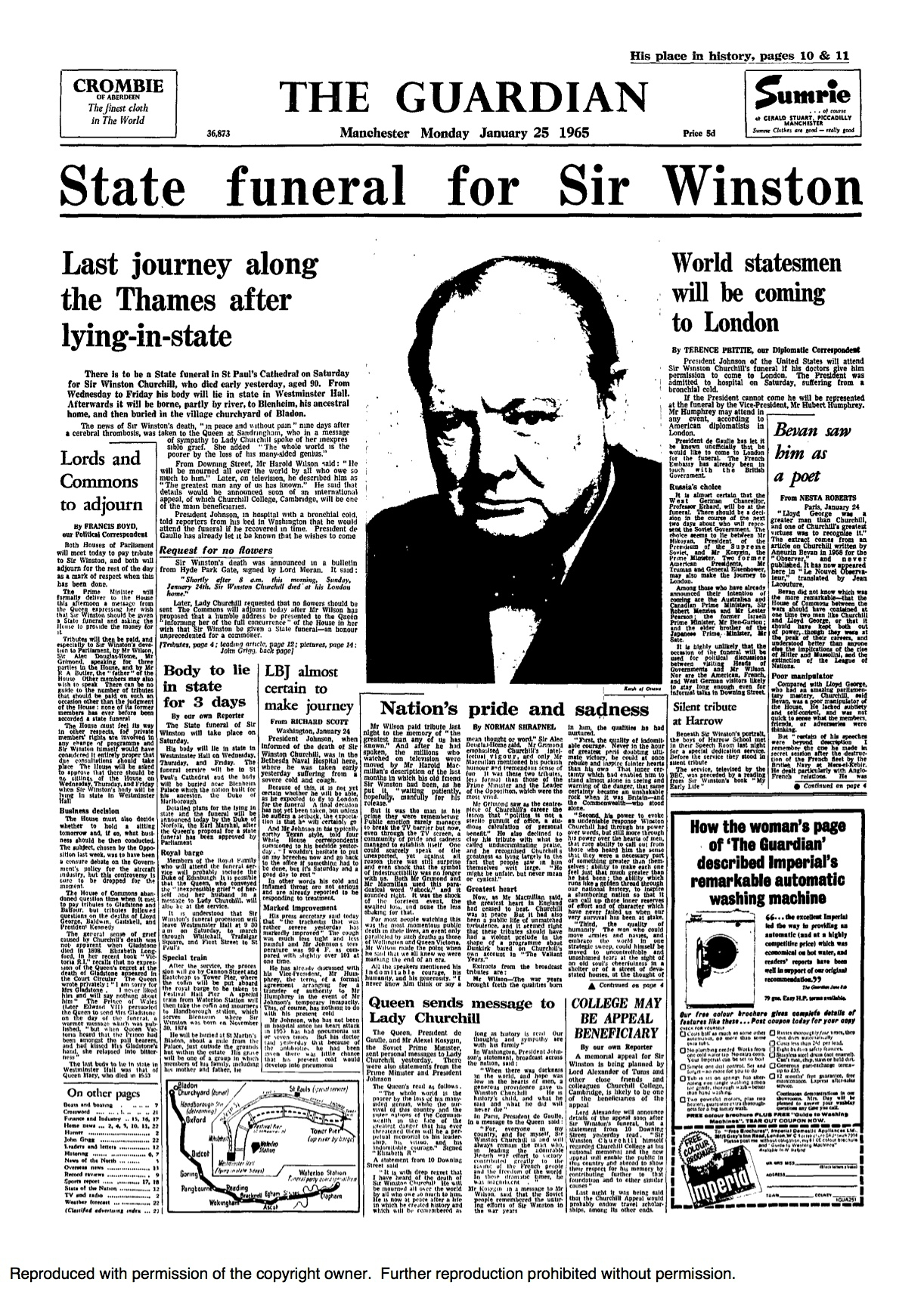 The death of Winston Churchill: reports from the Guardian and ...